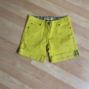 Mini Boden Girls  Yellow Denim Cuffed Shorts 8